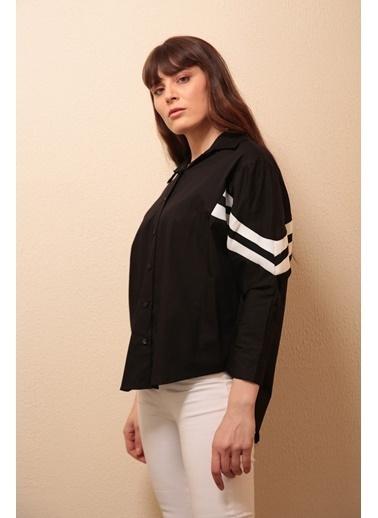 Reyon Kol şeritli Kadın Gömlek Beyaz Siyah